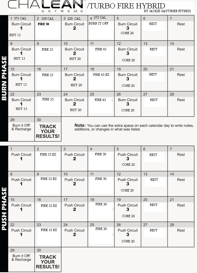 ChaLEAN Extreme Workout Calendar